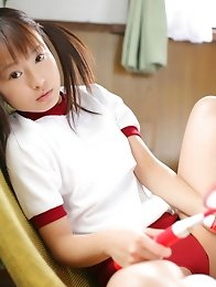 Kana Moriyama Asian in uniform bends and shows ass in thong