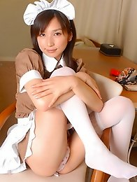 Kaori Ishii as a naughty maid in her stockings and uniform